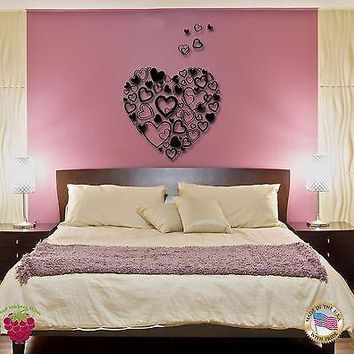Vinyl Wall Decal Hearts Romantic Decor I Love You For Bedroom Unique Gift (z1651)