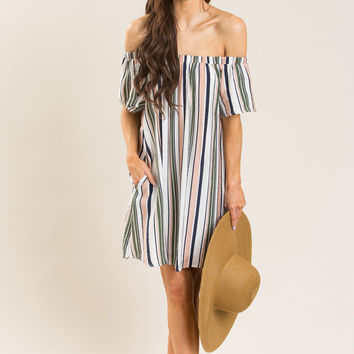 Dani Peach and Navy Striped Off the Shoulder Dress