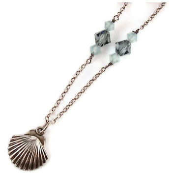 Sea Shell By The Sea Shore Charm necklace Sterling Silver Swarovski Crystal Scallop Vacation