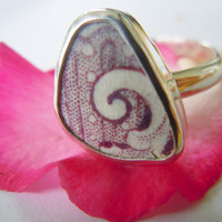 Broken China Ring  Sterling Silver Ring  Purple Mulberry Swirl Ring  Any Size 100% Handcrafted