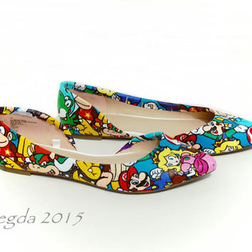 SUPER RARE- Mario Party Flats- Wedding shoes- Prom shoes- Matching shoes- Super Mario Bros- Homecoming- Geek- Nerd -Geeky -Gamer