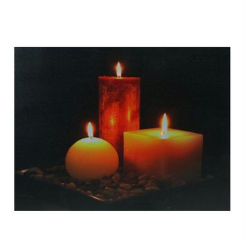 "LED Lighted Tranquil Zen Triple Candles Canvas Wall Art 12"" x 15.75"""