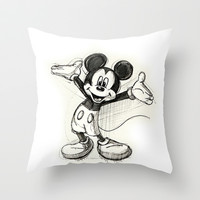 Mickey Mouse Throw Pillow by Maitha