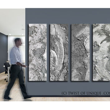 Oversized Metal Painting/ Industrial Abstract Painting / CUSTOM 5 Painting  Set / 75x18 / Office