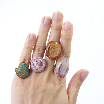 Druzy Statement Rings in Brown Geode Crystal, Gummy Pink, Transparent Stone Ring, Druzy Jewelry