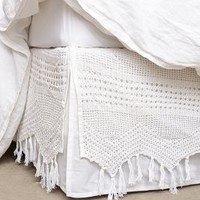 Fringe Crochet Bedskirt by Anthropologie White