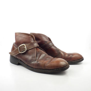 Leather Ankle Boots 1970s Florsheim Brown Euro Beatle Zip men's size 10 B