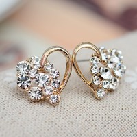 Heart And Rhinestone Balls Earrings