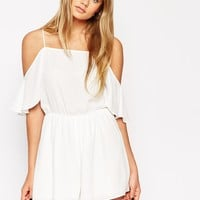 ASOS Playsuit with Cold Shoulder Ruffle