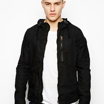 G Star Hooded Overshirt Jacket Franklin - Black