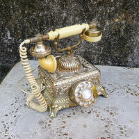 Vintage Gold Baroque  Square French Phone  Working Rotary Phone Radio Shack Imperial Classique