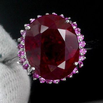 A Vintage Natural 9.05CT Oval Cut Blood Red Ruby Halo Pink Sapphire Ring