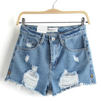 Summer Heavy Work Rinsed Denim Ripped Holes High Waist Denim Shorts [6332303428]