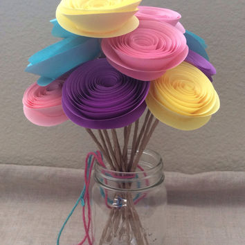 Bouquet paper flowers wedding home decor shabby chic baby shower you customize any colors set of 12