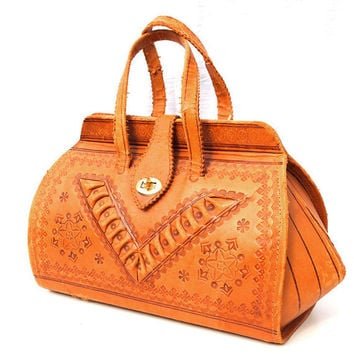 Mona French Vintage Tan Tooled Leather by dandeliondaydreamer