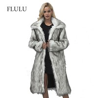FLULU Casual Winter Coat Women 2018 Autumn Winter Long Sleeve Jacket Coat Hairy Warm Loose Faux Fur Coat Outerwear Plus Size 3XL