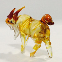 Figurine Animal Miniature Hand Blown Glass Cow.