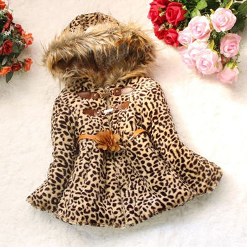 Baby Girls Leopard Faux Fox Fur Collar Hoodie Coat Winter Outerwear Jacket  D_L = 1712753988
