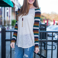 Business As Casual Top, Oatmeal