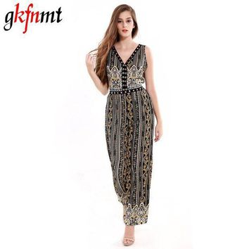 CREYIJ6 Women Jumpsuit Romper Fitness Slim Loose Romper Sexy V-Neck Print Bohemian Be Stretchy Big Size Rompers Backless Hollow Out