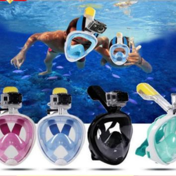 Snorkel Diving Mask 180° Panoramic Full Face with GoPro Attachment Goggles