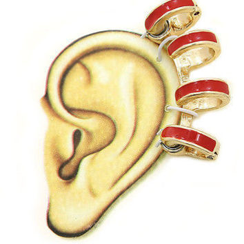 Ear Cuff Earring Urban Glam Bold Bright Colors Magnetic Round Ring with Red Gold