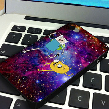 Galaxy Nebula Finn and Jake 3 iPhone 5 iPhone 4 / 4S Plastic Hard Case Soft Rubber Case