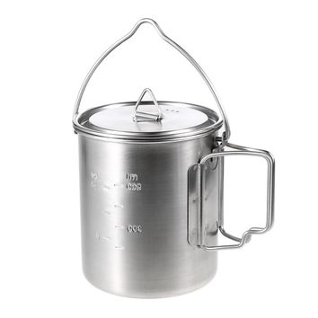 Lixada 750ml Stainless Steel Pot Portable Water Mug Cup with Lid Foldable Handle Outdoor Camping Cooking Picnic Tableware