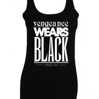Vengeance Wears Black Ladies Black Vest Inspired by The Mortal Instruments - Buy Online at Grindstore.com