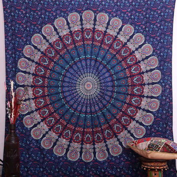 Indian Mandala Tapestry Wall Hanging Bohemian Queen Tapestries Hippy Throw Decor Bedspread Sofa Hippie Wall Art College Dorm Beach Coverlet