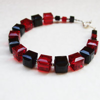 Classic black and red Swarovski crystal bracelet / Black red cube bracelet / Swarovski crystal cube bracelet