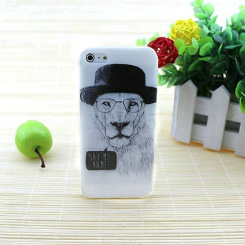 TPU Soft Thin Animal Case Luxury White Lion Printed Mobile Phone Cover For iPhone 5/5s