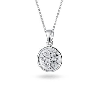 Reversible Tree Life Pendant Wishing Tree Necklace Sterling Silver