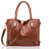 Women Vintage Side-Zipper Buckle PU Leather Tote Shoulder Bags