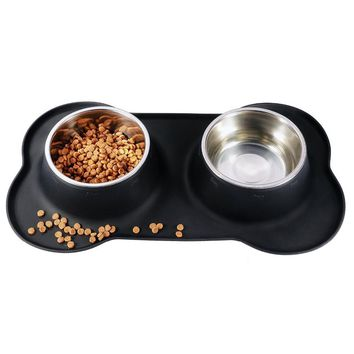 Stainless Steel Double Pet Dog Bowl With No Spill Non-Skid Silicone Mat Pet Dog Feeder Bowl Tool Cat Bowl Drop Shipping S/M/L