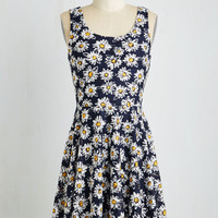 Sleeveless A-line Those Were the Daisies Dress by ModCloth