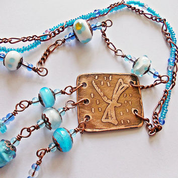 Dragonfly lampwork necklace, bohemian necklace, copper necklace, etched copper pendant, dragonfly pendant, blue and copper