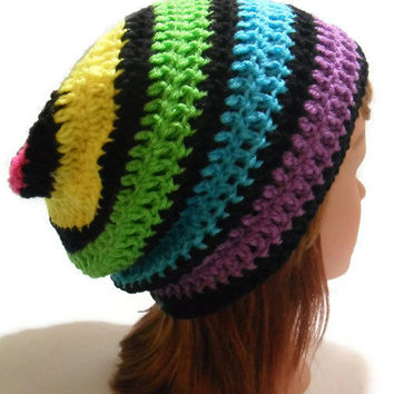Crochet Slouchy Striped Rainbow Beanie Hat with black stripes Small