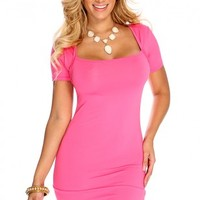 Fuchsia Short Sleeve Sexy Party Dress