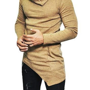 Mens One-Pocket Cowl-Neck Asymmetrical Sweatshirts
