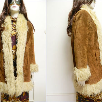 Vintage leather coat fur coat 1980 s hippie shaggy coat