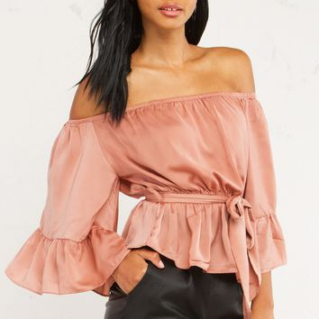 BAILEE SATIN OFF SHOULDER TOP - What's New
