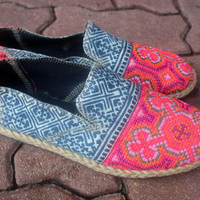 Womens Loafers in Ethnic Hmong Embroidery and Indigo Batik Vegan Shoe