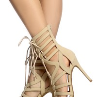 Nude Faux Nubuck Cut Out Lace Up Heels @ Cicihot Heel Shoes online store sales:Stiletto Heel Shoes,High Heel Pumps,Womens High Heel Shoes,Prom Shoes,Summer Shoes,Spring Shoes,Spool Heel,Womens Dress Shoes