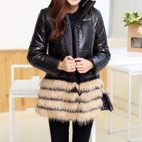 Black Zippered Coat with Fur Detail