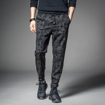 Elastic Black Camouflage Skinny Joggers for Guys