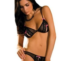 Sexy Black Lace Peek-a-Boo Bra and Crotchless Thong 2 Piece Set Sizes: Medium-Large
