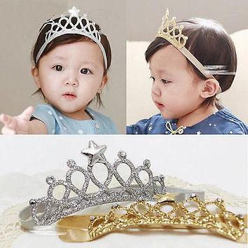 Girls Kids Children Baby Elastic Princess Party Crown Tiara Hair Head Band Crown molding baby hair band