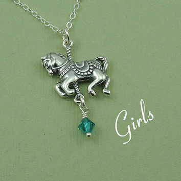 Girls Carousel Horse Birthstone Necklace  - sterling silver children's jewelry pendants