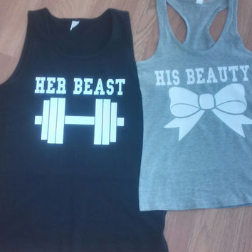 Free Shipping for US Beauty And The Beast  Matching Couples Tank Tops/Shirts: Black&Gray Different Version
